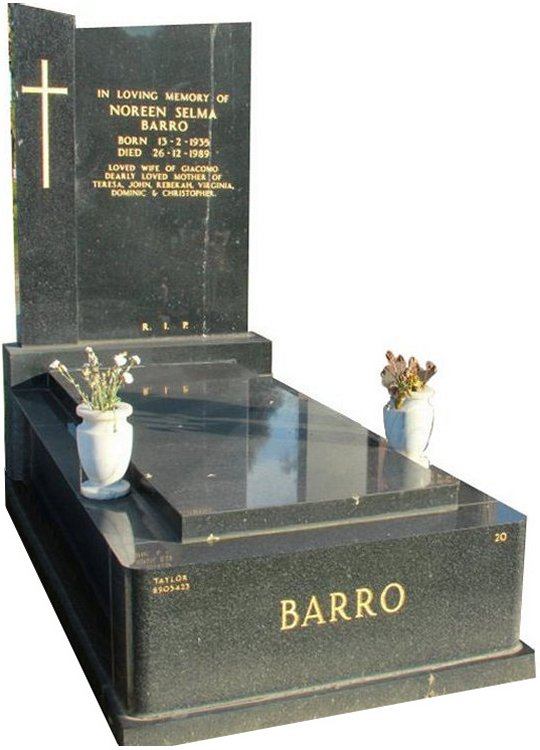 Full Monument Cemetery Memorial Regal Black (Dark) Indian Granite Barro Box Hill