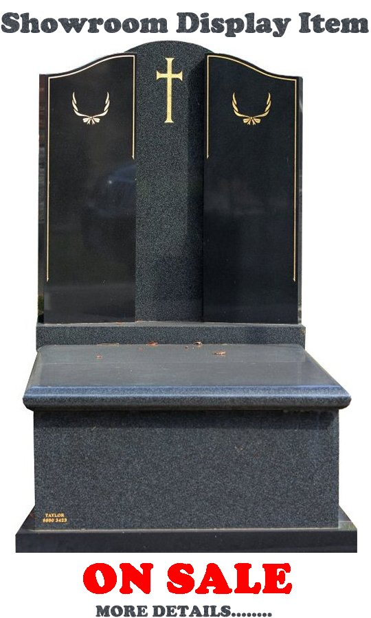Gravestone Showroom Display Monument Headstone in Regal Black (Dark) and Royal Black Indian Granite