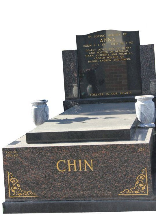 Gravestone and Monument Headstone in Maple Red and Royal Black Indian Granites for Anna Yat Ping Chin in Box Hill Cemetery Grave Monuments.