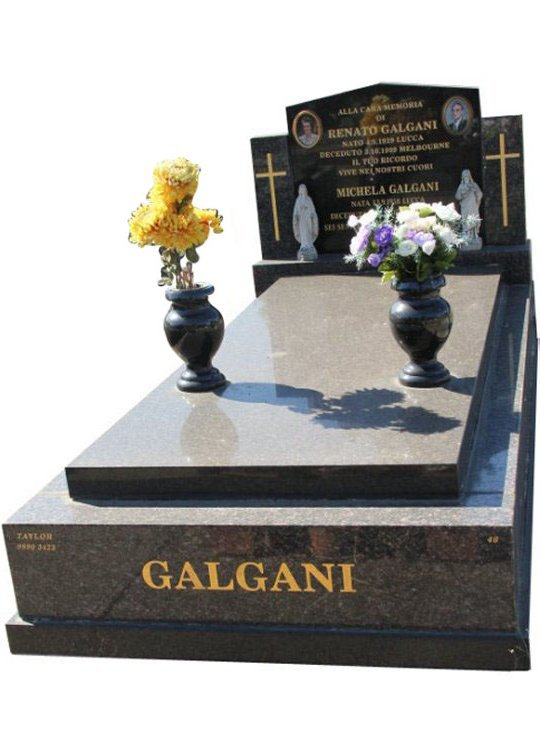 Gravestone and Monument Headstone in New Mahogany and Royal Black Indian Granite for Galgani in Box Hill Cemetery Grave Monuments.