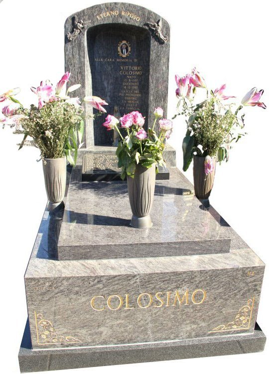 Gravestone and Monument Headstone in Platinum Blue and Royal Black Indian Granites for Colosimo in Box Hill Cemetery Grave Monuments.