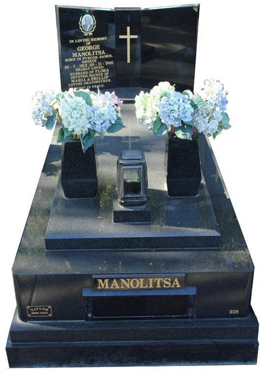 Gravestone and Monument Headstone in Regal Black (Dark) and Royal Black Indian Granite for Manolitsa in Box Hill Cemetery Grave Monuments.