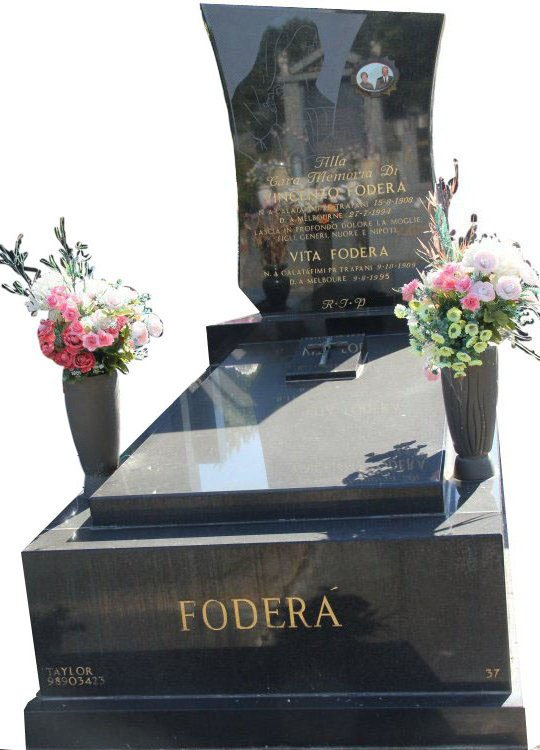 Gravestone and Monument Headstone in Royal Black Indian Granite for Fodera in Box Hill Cemetery Grave Monuments.