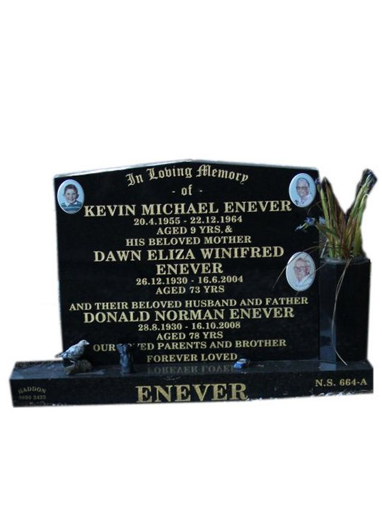 Headstone Cemetery Memorial Silver Pearl Black Indian Granite Enever Box Hill