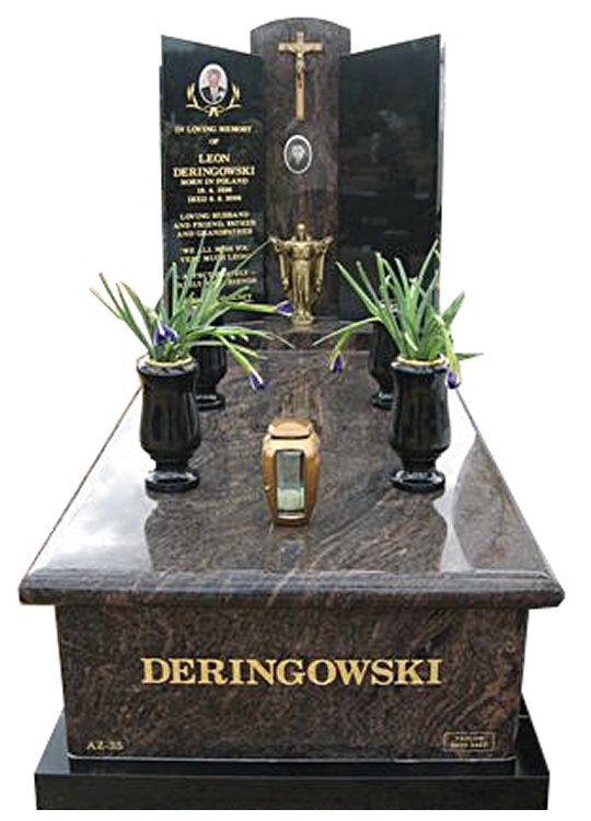 Springvale Dakota Mahogany and Royal Black Full Monument Deringowski Cemetery Memorial
