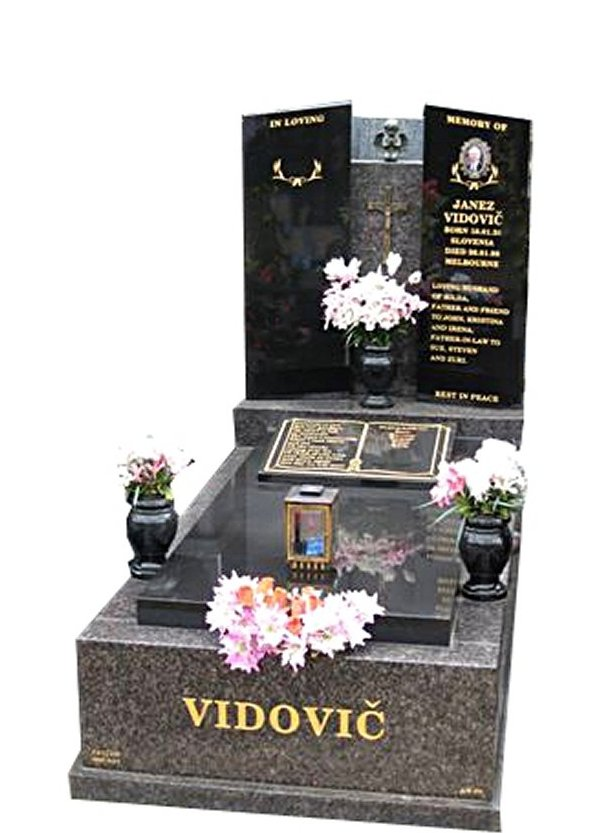 Springvale New Mahogany and B G Black Full Monument Vidovic Cemetery Memorial