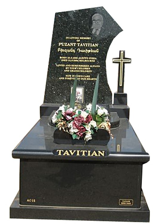 Springvale Royal Black and Emerald Pearl Full Monument Tavitian Cemetery Memorial