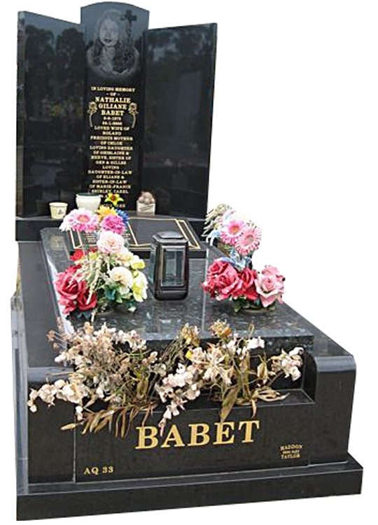 Springvale Royal Black and Emerald Pearl Indian Granites Full Monument Babet Cemetery Memorial