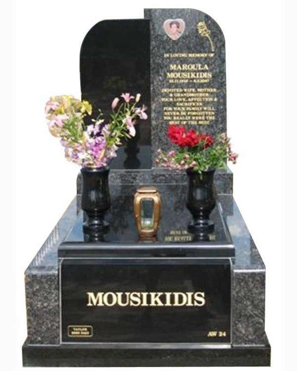 Springvale Sapphire Blue and Royal Black Full Monument Mousikidis Cemetery Memorial