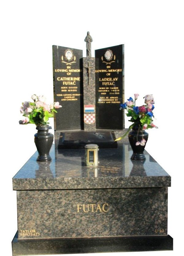 Springvale Sapphire Brown and Royal Black Full Monument Futac Cemetery Memorial