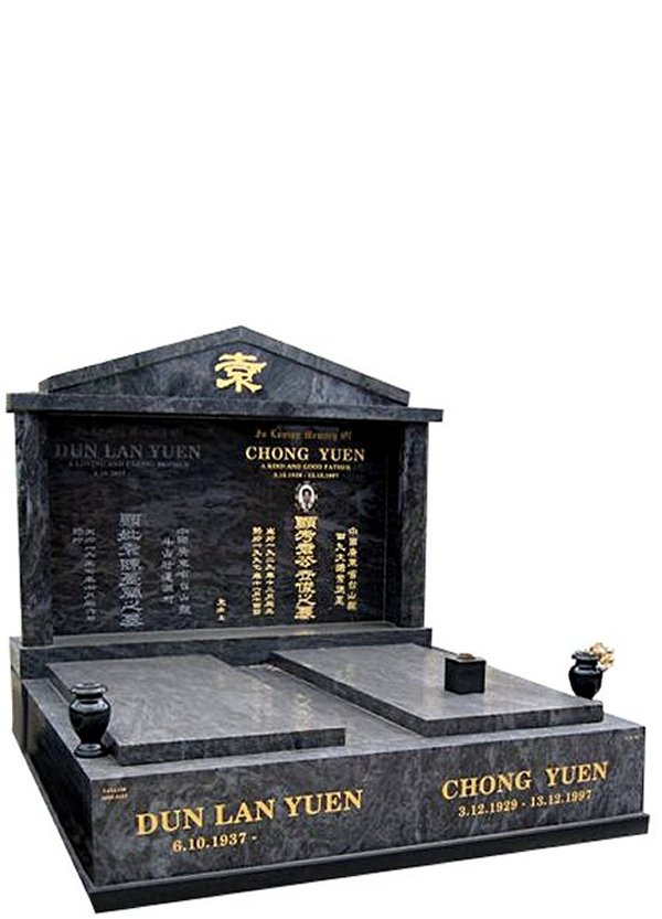 Springvale Silk Blue Indian Granite Double Monument Chong Yuen Cemetery Memorial