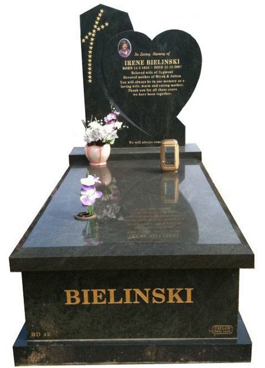 Bielinski Tropical Green Indian Granite Cemetery Memorial