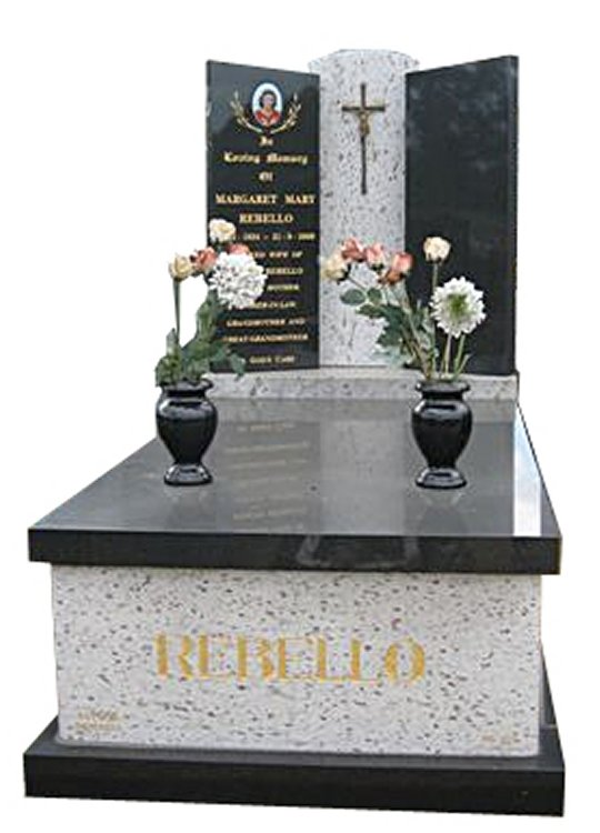 Springvale White Galaxy and Royal Black Indian Granites Full Monument Rebello Cemetery Memorial