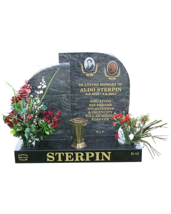Cemetery Headstone in Silk Blue and Royal Black Indian Granite for Sterpin at Williamstown Cemetery