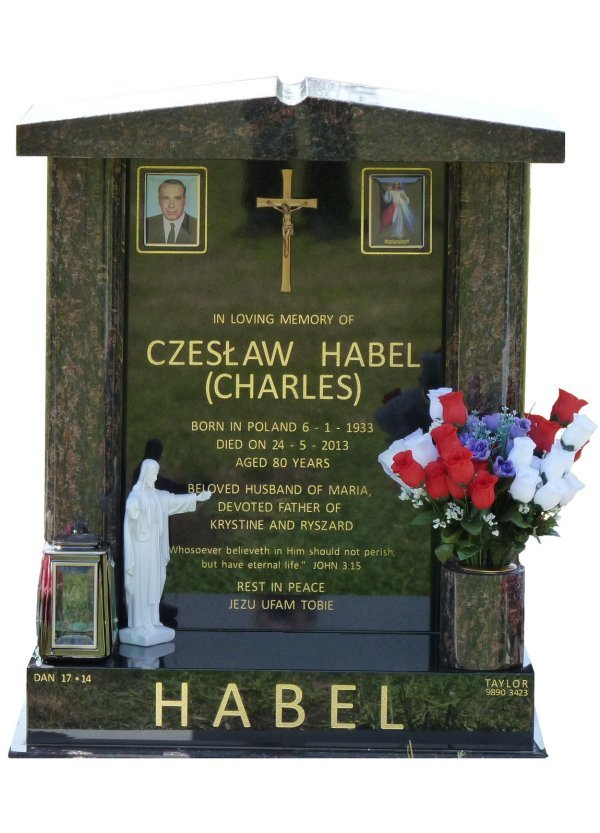 Cemetery Headstone In Tan Brown and Royal Black Indian Granite For Habel At Lilydale Cemetery