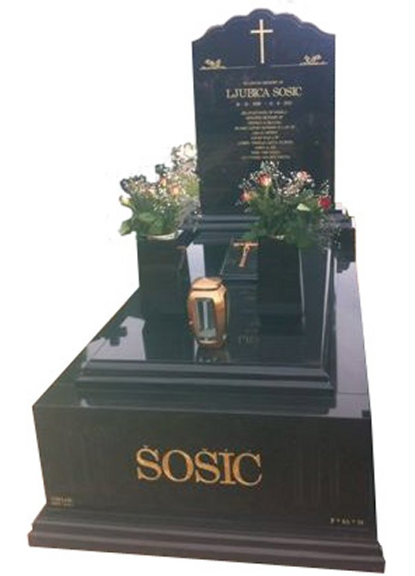 Cemetery Memorial In B G Black Indian Granite For Sosic At Springvale Botanical Cemetery.