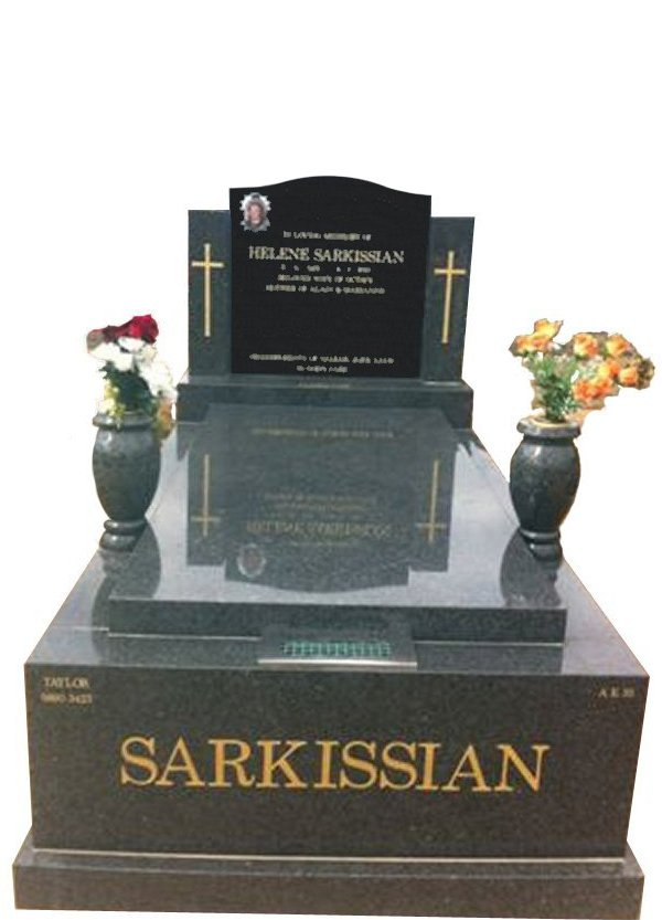 Cemetery Memorial in Midnight Star Black Indian Granite for Sarkissian at Springvale Botanical Cemetery