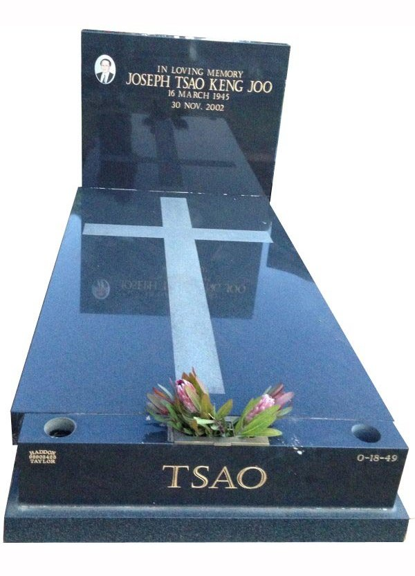 Cemetery Memorial in Regal Black (Dark) Indian Granite for Keng Tsao at Springvale Botanical Cemetery
