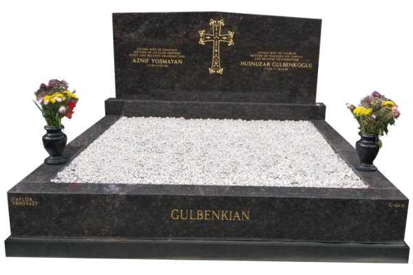 Double Granite Memorial In Tan Brown and BG Black Indian Granite for Yosmayan and Gulbenkoglu at Springvale.