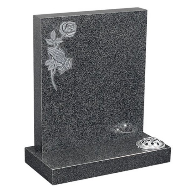 Floral Accent Granite Lawn Headstone HT1 in Regal Black (Light) Indian Granite