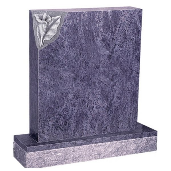 Floral Accent Granite Lawn Cemetery Headstone HT2 in Vizag Blue Medium Indian Granite
