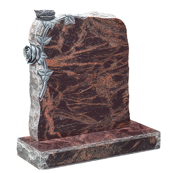 Floral Accent Granite Lawn Cemetery Headstone HT23 in Indian Aurora Premium Indian Granite