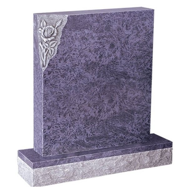 Floral Accent Granite Lawn Headstone HT3 in Vizag Blue Medium Indian Granite