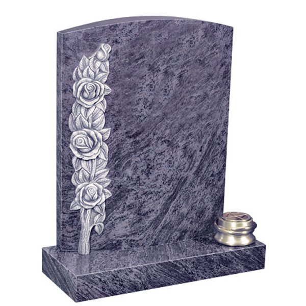 Floral Accent Granite Lawn Headstone HT33 in Vizag Blue Medium Indian Granite