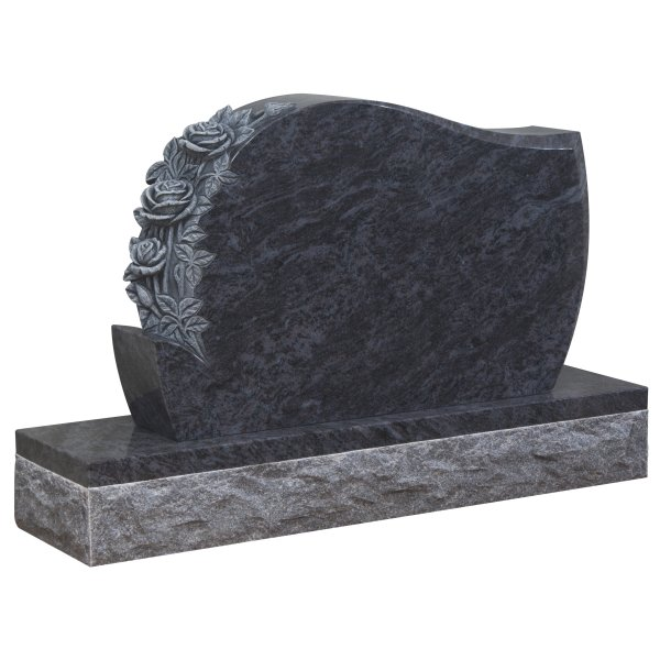 Floral Accent Granite Lawn Headstone HT35 in Vizag Blue Premium Indian Granite