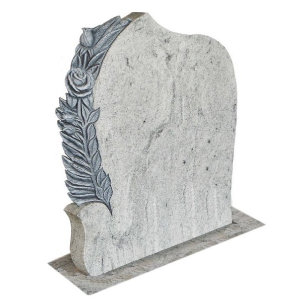 Floral Accent Granite Lawn Headstone HT40 in Kashmir Valley Indian Granite