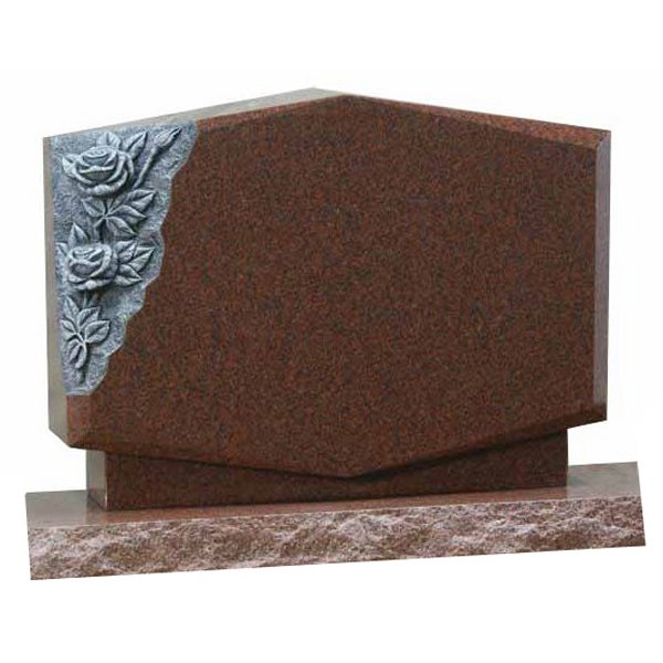 Floral Accent Granite Lawn Cemetery Headstone HT42 in Ruby Red Indian Granite