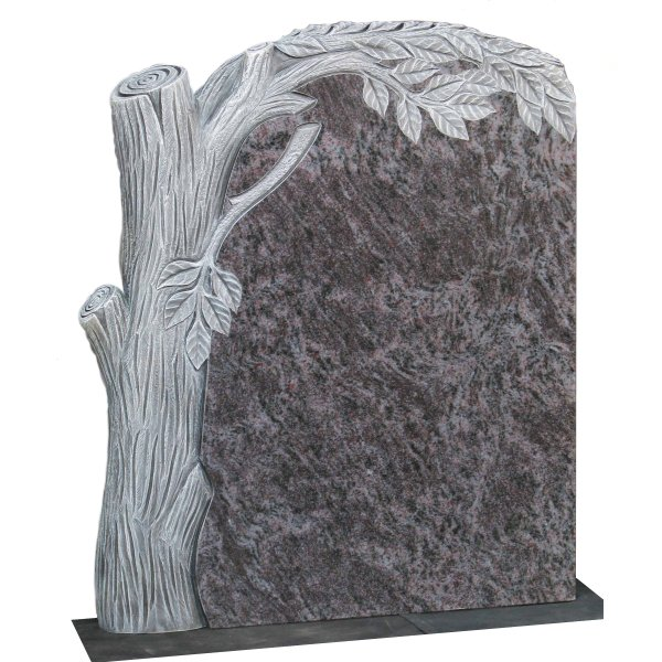 Floral Accent Granite Lawn Headstone HT45 in Vizag Blue Light Indian Granite