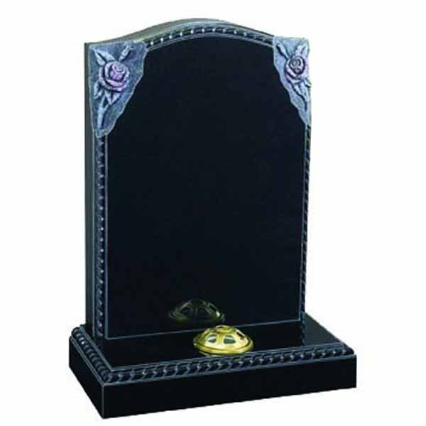 Floral Accent Granite Lawn Cemetery Headstone HT47 in B G Black Indian Granite