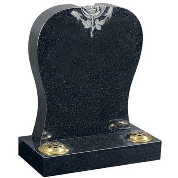 Floral Accent Granite Lawn Cemetery Headstone HT5 in Regal Black (Dark) Indian Granite