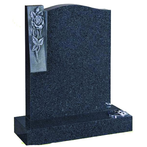 Floral Accent Granite Lawn Headstone HT51 in Regal Black (Dark) Indian Granite