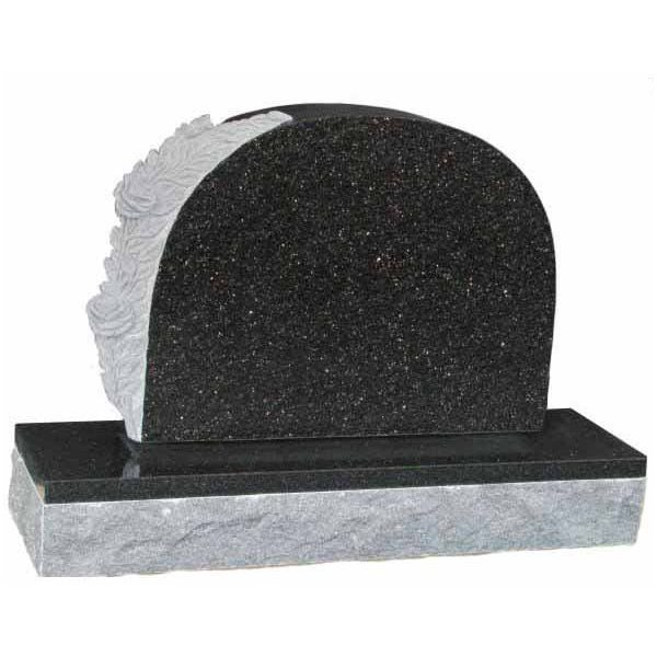 Floral Accent Granite Lawn Headstone HT6 in Silver Pearl Black Indian Granite