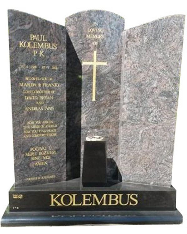 Granite Headstone in Pardiso and Royal Black Indian Granite for the Kolembus Family