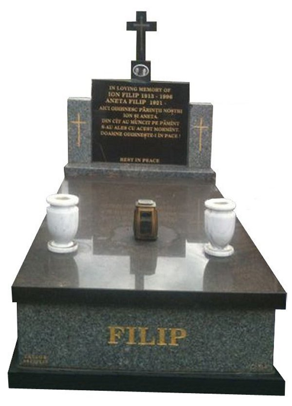 Granite Memorial and Full Monument Headstone in Harcourt Grey Australian Granite and Royal Black Indian Granite for Filip at Springvale Botanical Cemetery