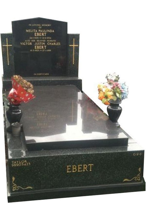 Granite Memorial and Full Monument Headstone in Midnight Star Black and Royal Black Indian Granite for Ebert at Springvale Botanical Cemetery