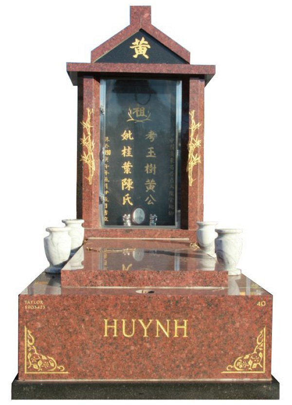 Granite Memorial and Full Monument Headstone in Red Pearl and Royal Black Indian Granite for Huynh at Springvale Botanical Cemetery