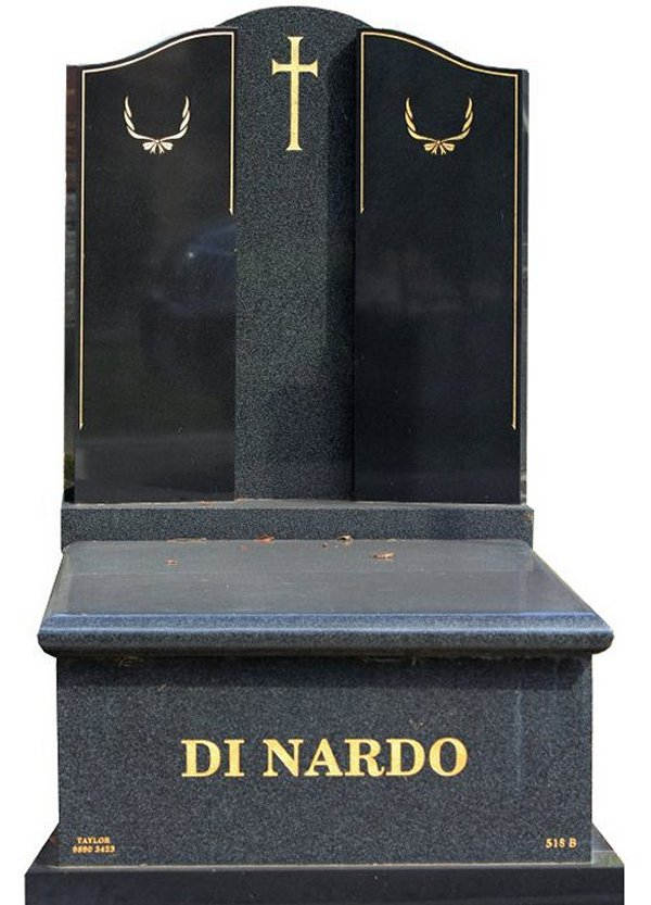 Granite Memorial and Full Monument Headstone in Regal Black (Light) and Royal Black Indian Granite for Di Nardo at Burwood Cemetery