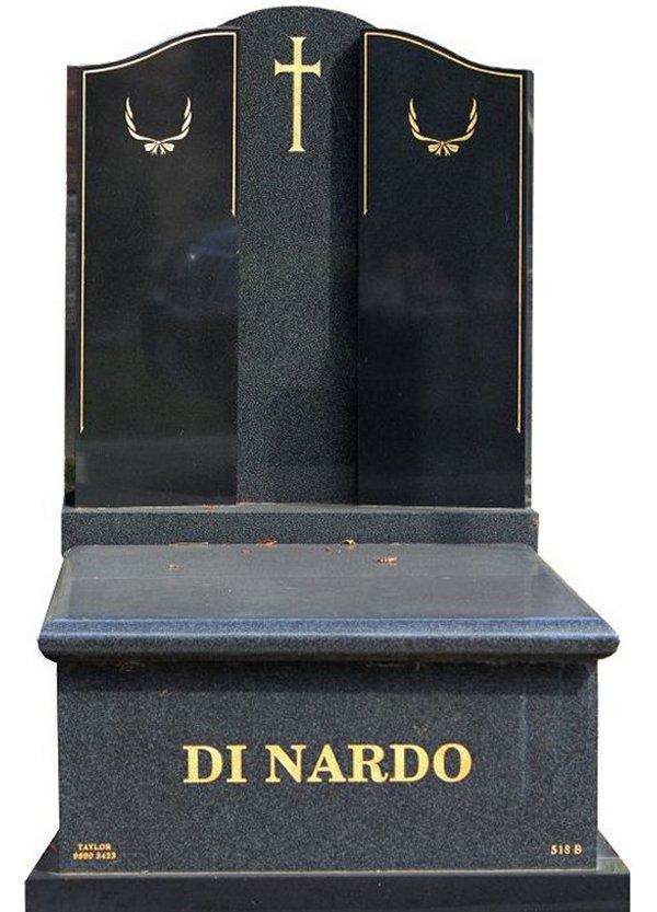 Granite Memorial and Full Monument Headstone in Regal Black (Light) and Royal Black Indian Granite for Di Nardo at Burwood Cemetery