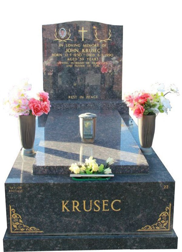 Granite Memorial and Full Monument Headstone in Sapphire Brown Indian Granite for Krusec at Springvale Botanical Cemetery