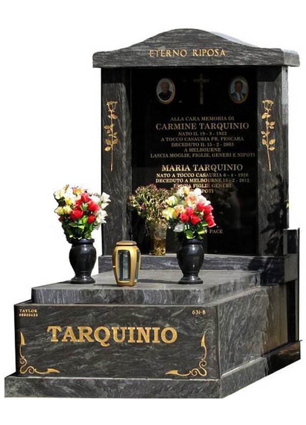 Granite Memorial and Full Monument Headstone in Silk Blue and Royal Black Indian Granite for Tarquinio at Burwood Cemetery