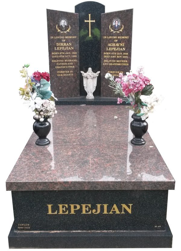 Granite Memorial Headstone In Maple Red and Regal Black (Dark) Indian Granite for Lepejian at Springvale