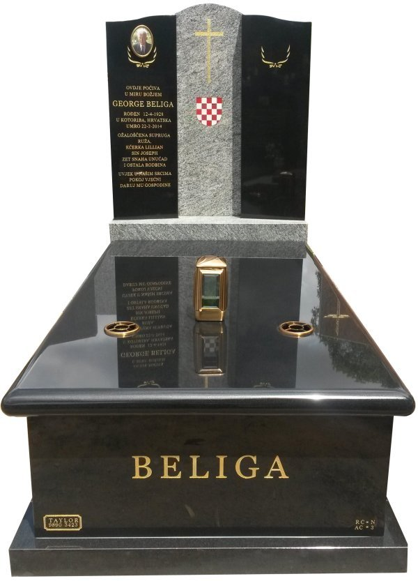Granite Memorial Headstone In Oceanic Grey and BG Black Indian Granite for George Beliga at Springvale