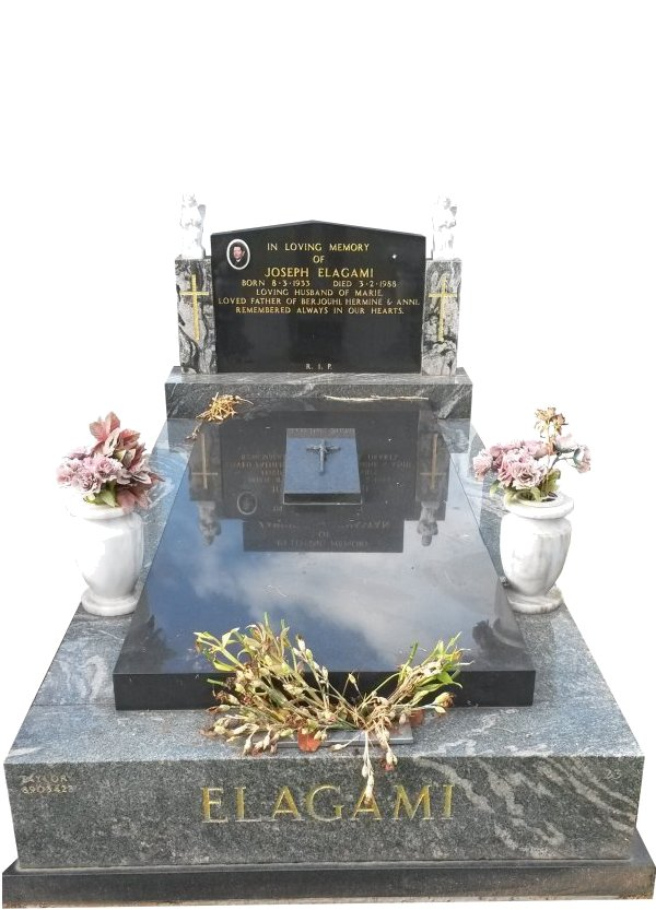 Granite Memorial Headstone In Oceanic Grey and BG Black Indian Granite for Joseph Elagami at Springvale