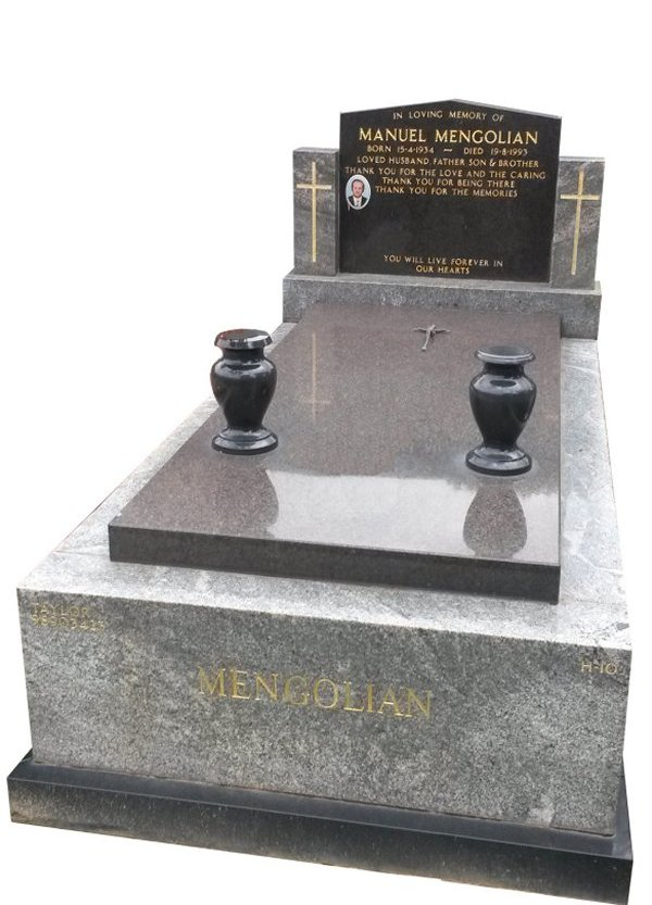 Granite Memorial Headstone In Oceanic Grey and BG Black Indian Granite for Ilyas and Sarah Mengolian at Springvale