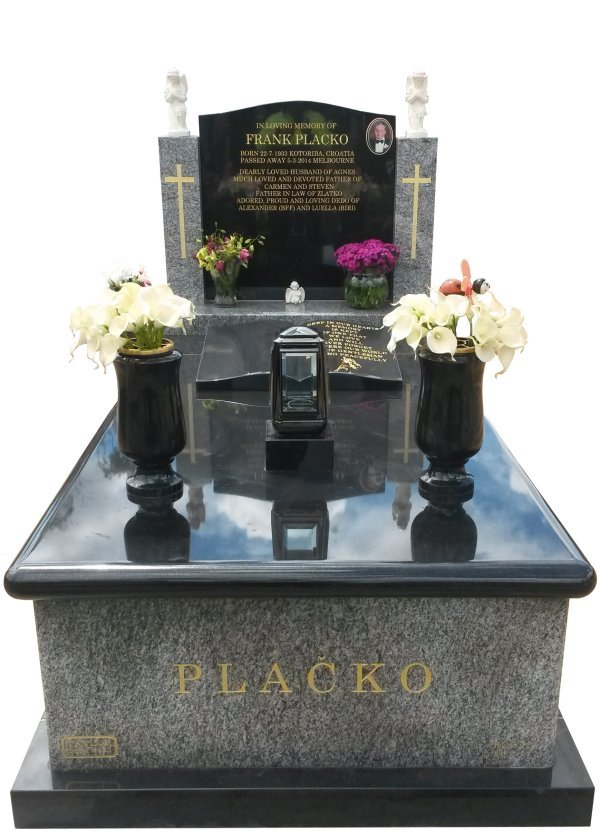 Granite Memorial Headstone In Oceanic Grey and BG Black Indian Granite for Placko at Springvale