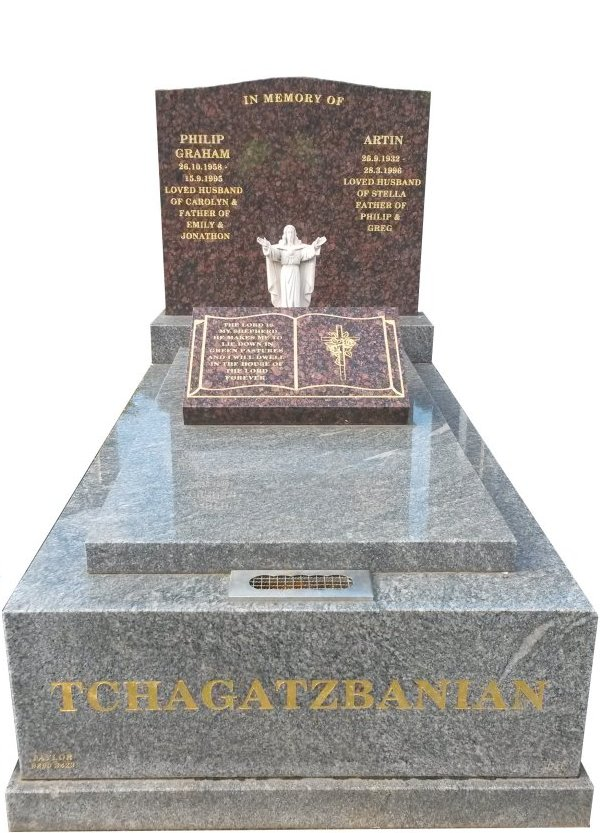 Granite Memorial Headstone In Oceanic Grey and Maple Red Indian Granite for Artin Haroutoun Tchagatzbanian at Springvale